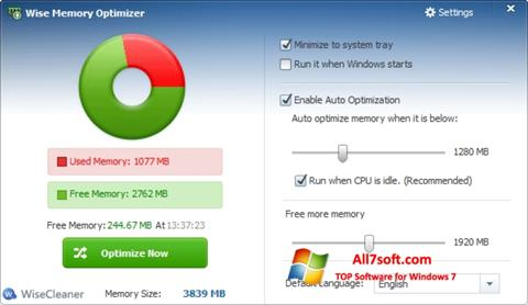 Képernyőkép Wise Memory Optimizer Windows 7