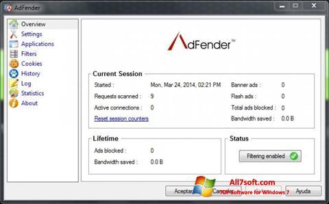 Képernyőkép AdFender Windows 7