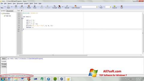 Képernyőkép Geany Windows 7