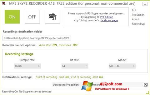 Képernyőkép MP3 Skype Recorder Windows 7