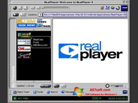 Képernyőkép RealPlayer Windows 7