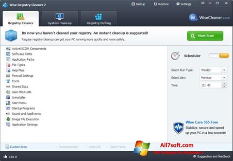 Képernyőkép Wise Registry Cleaner Windows 7