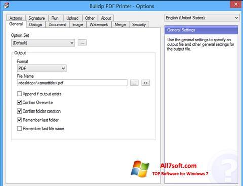 Képernyőkép BullZip PDF Printer Windows 7