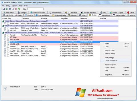Képernyőkép AutoRuns Windows 7