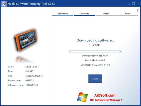 Képernyőkép Nokia Software Recovery Tool Windows 7