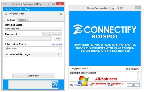 Képernyőkép Connectify Hotspot Windows 7