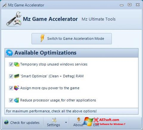 Képernyőkép Mz Game Accelerator Windows 7