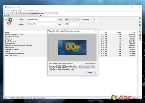 Képernyőkép CDex Windows 7