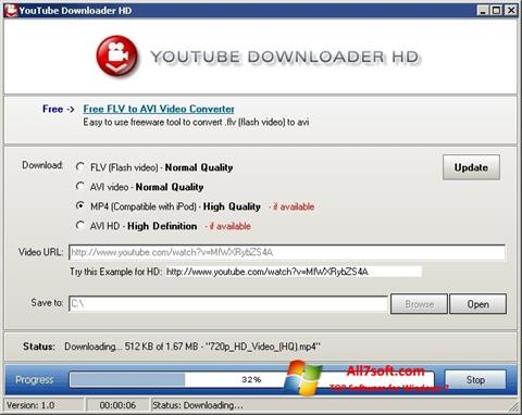Képernyőkép Youtube Downloader HD Windows 7