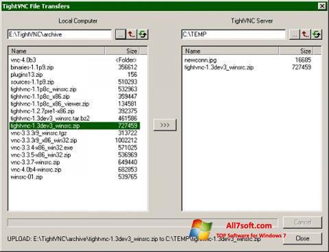 Képernyőkép TightVNC Windows 7
