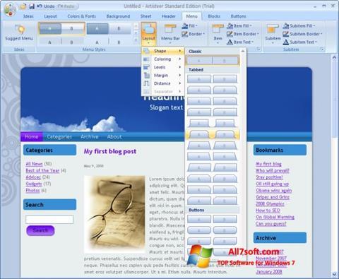 Képernyőkép Artisteer Windows 7
