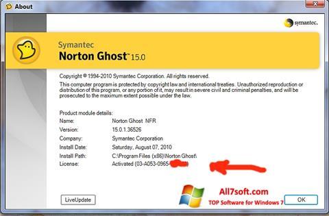 Képernyőkép Norton Ghost Windows 7