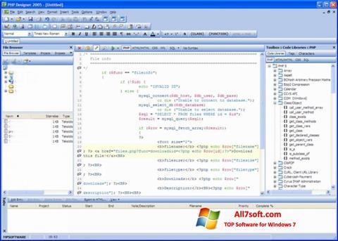 Képernyőkép phpDesigner Windows 7
