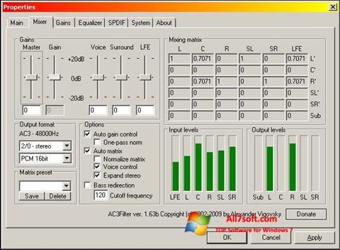 Képernyőkép AC3 Codec Windows 7