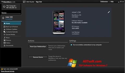 Képernyőkép BlackBerry Link Windows 7