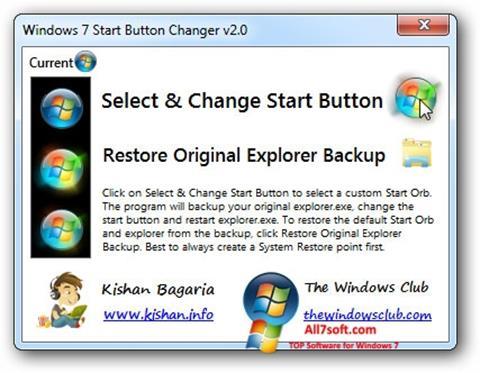 Képernyőkép Windows 7 Start Button Changer Windows 7